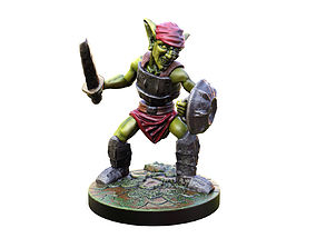 miniatures 3d printable Goblin swordman 28mm Miiniature