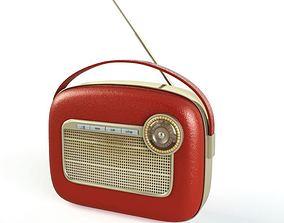 Red vintage radio 15 am114 3D