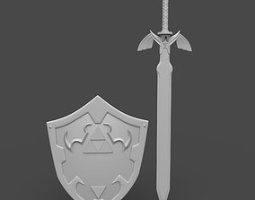 Shield and sword from the game zelda 3D printable model