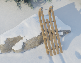 3D Winter Sled High Poly