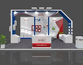 Exhibition stall 3d model 6x5 mtr 3 sides open Apple RO
