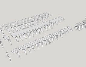 Wood Trestle Railroad Bridge Modular N Scale 3D