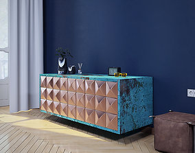 3D Sideboard marble copper patina pyramid