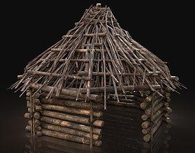 Next Gen AAA Forest Shelter Hut made of sticks 3D model 1