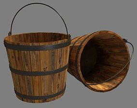 3D asset VR / AR ready Bucket Wooden