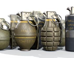 3D model American Frag hand grenade PACK M26 M67 MK2 MK3