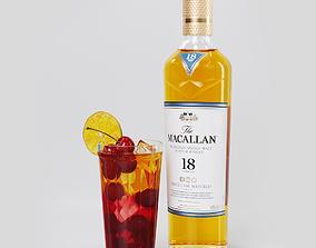 3D model Cherry whiskey smash socktail