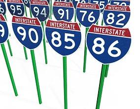 3D asset Interstate Shields