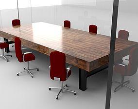 3D Transparent Glass Walls Conference Room