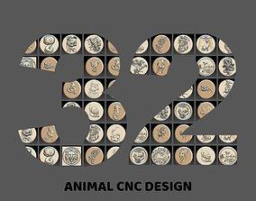 32 piece Animal set 3D STL Model for CNC Router