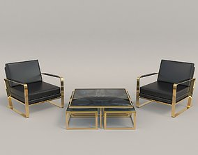 3D Relaxing Chairs and Coffee Table 4