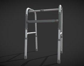 3D model Four legs walker aids black