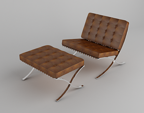 Barcelona Chair Brown Leather 3D