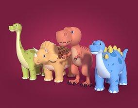 Cartoon Dinosaurs Trex Tricratops Stegosaurus 3D asset
