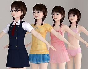 T pose nonrigged model of Yume with various outfit