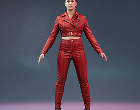 A Pose Girl in Leather Snake Suit and Heels 3D asset