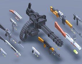 3D asset Low Poly Guns