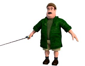 3D model fisherman E cartoon rigged character