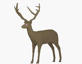 3D asset Low Poly Deer Rigged