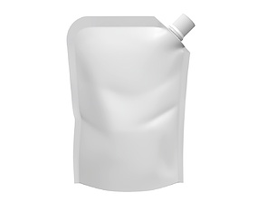 Blank Pouch Bag With Corner Spout Lid Mock Up 02 3D