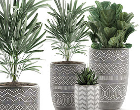 3D Decorative plants in pots on a stand for the 1