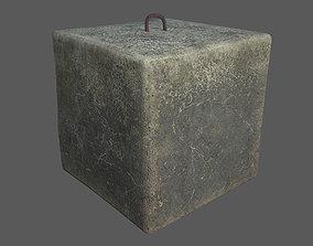 Concrete block 1x1x1 meter 3D model game-ready