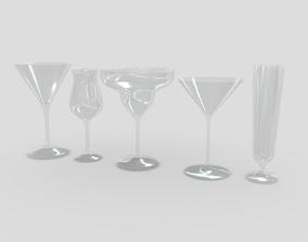 3D asset Cocktail Glass Set 3