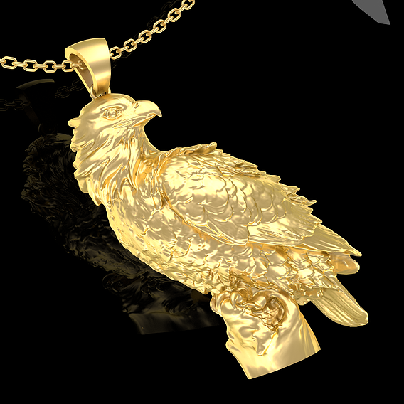 Falcon Pendant Jewelry Gold 3D Print Model