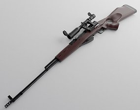SKS 45 rifle with POSP-4 Scope 3D model