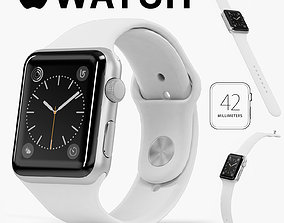 3D asset Apple Watch Silver Aluminum Case White Sport Band