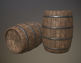 Wooden Barrel 3D asset realtime PBR