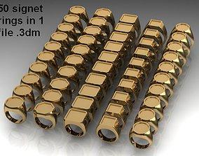 50 signet rings 3D print model package