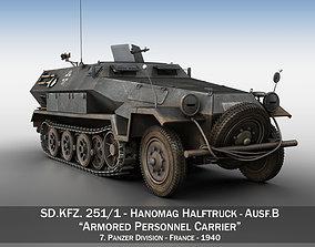 3D model SD KFZ 251 1 - Ausf B - Halftruck - 7PD