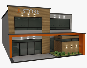 Store 3D model low-poly