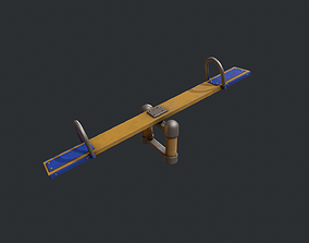 3D model Playground Seesaw - Yellow