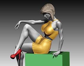 Woman body statue sit poses 3D print 3D model