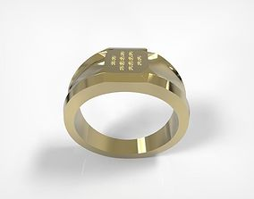 Jewelry Golden Massive Ring Square Top 3D printable model
