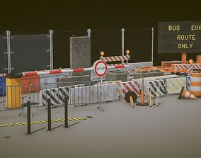 Road Props 3D asset low-poly