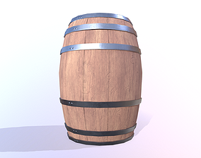 PBR Low Poly Barrel 3D asset