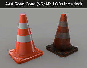 game-ready Traffic Road Cone - 3D VR AR game ready