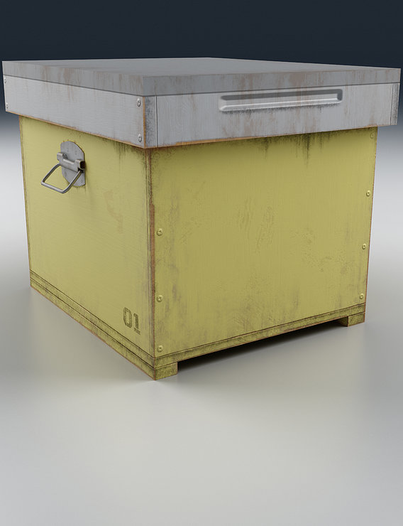Old Wooden Box Yellow Render