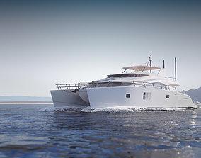 mid-poly 3D model Large luxurious catamaran