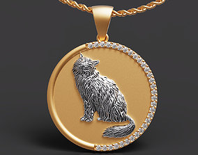 pendants 3D print model Persian cat pendant
