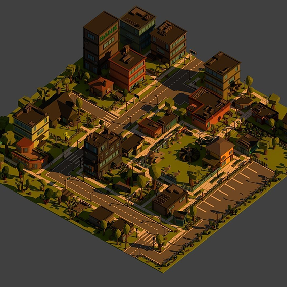 Low Poly Cartoon City