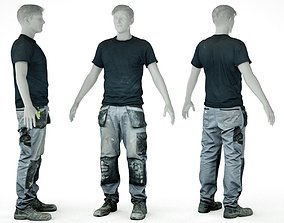 Male Work Outfit 7 T Shirt Pants Footwear 3D asset