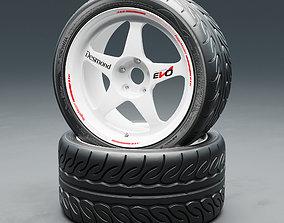 3D model Yokohama NEOVA AD08R tire with Regamaster EVO II