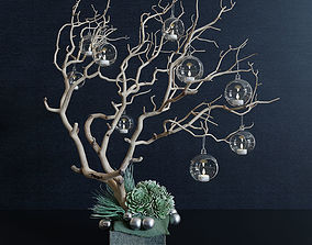 decorate 3D model Decor branch and christmas toy