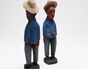 Blue Man an African wood sculpture 3d scan PBR