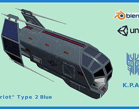 Spaceship Patriot Type 2 Blue 3D asset VR / AR ready