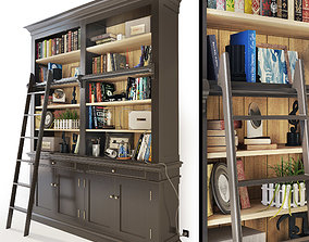 Versailles Bookcase with Ladder in black Maisons du 3D